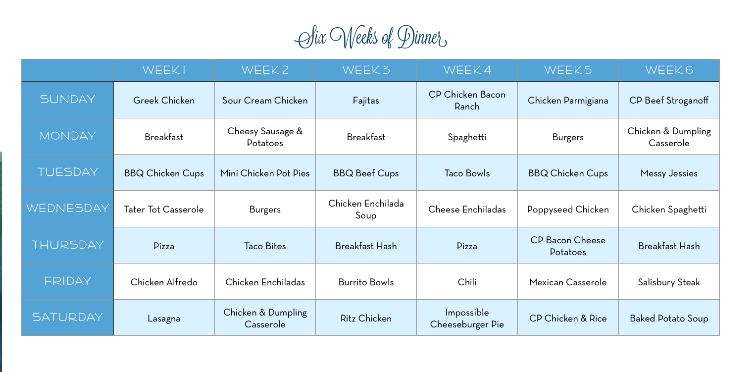 meal planned an alternative to weekly meal plans